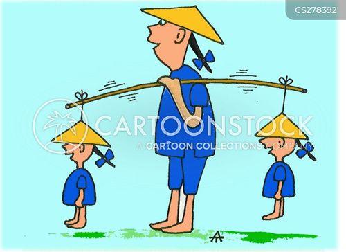 Cartoon asiaten auf seite